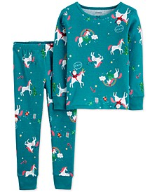 Toddler Girls 2-Pc. Snug-Fit Cotton Holiday Unicorn Pajamas Set