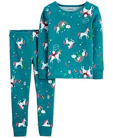 Toddler Girls 2-Pc. Snug-Fit Cotton Holiday Unicorn Pajamas Set