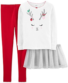 Little & Big Girls 3-Pc. Reindeer Top, Tutu & Pants Set