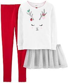 Carter's Little & Big Girls 3-Pc. Reindeer Top, Tutu & Pants Set