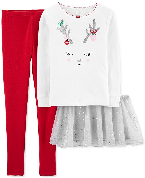 Carter's Little & Big Girls 3-Pc. Reindeer Top, Tutu & Pants Set