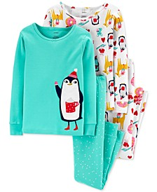 Big & Little Girls 4-Pc. Cotton Snug-Fit Penguin Pajamas Set