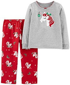Toddler Girls 2-Pc. Fleece Holiday Unicorn Pajamas Set