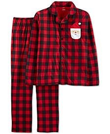 2-Pc. Adult Unisex  Family Pajamas, Santa Buffalo-Check