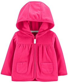 Baby Girls Hot Pink Hooded Full-Zip Fleece Cardigan