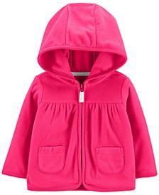 Baby Girls Hot Pink Hooded Full-Zip Fleece Cardigan