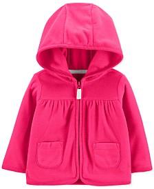 Carter's Baby Girls Hot Pink Hooded Full-Zip Fleece Cardigan