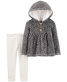 Carter's Baby Girls 2-Pc. Leopard-Print Fleece Hoodie & Glitter Leggings Set