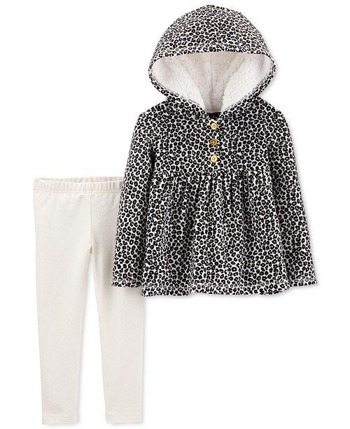 Carter's Baby Girls 2-Pc. Leopard-Print Fleece Hoodie & Glitter Leggings Set