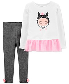 Baby Girls 2-Pc. Cat Peplum Tunic & Pom-Pom Leggings Set