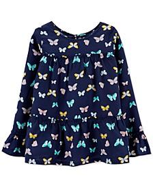 Big & Little Girls Butterfly Tiered Poplin Shirt
