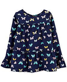 Carter's Big & Little Girls Butterfly Tiered Poplin Shirt
