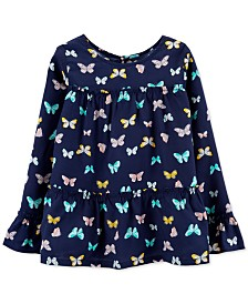 Carter's Big & Little Girls Butterfly Tiered Poplin Shirt
