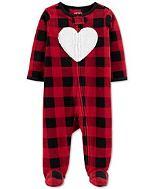 Baby Girls Footed Fleece Heart Coverall