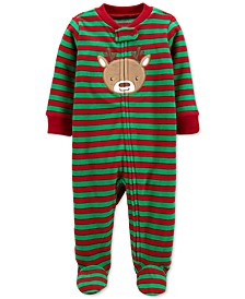 Baby Boys Footed Fleece Reindeer Coverall