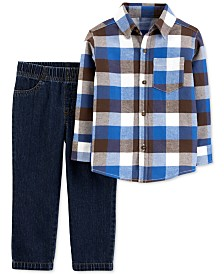 Carter's Baby Boys 2-Pc. Plaid Flannel Shirt & Jeans Set