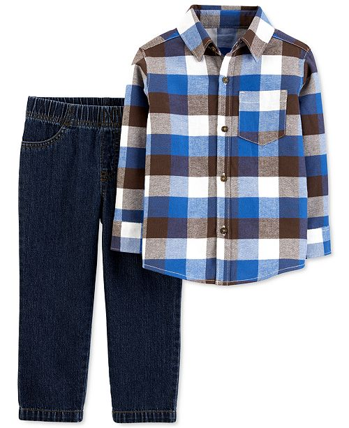 Carter's Baby Boys 2-Pc. Plaid Flannel Shirt & Jeans Set