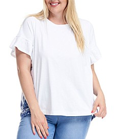 Trendy Plus Size Woven Back Embroidered T-Shirt