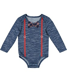 Beedle & Thread Baby Boy's Heather Bodysuit with Suspenders and Bowtie
