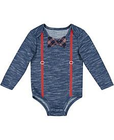 Beedle & Thread Baby Boy's Heather Bodysuit with Suspenders and Bowtie