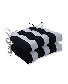 """Cabana Stripe 16.5"""" x 15"""" Outdoor Chair Pad Seat Cushions 2-Pack"""