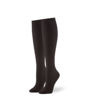 Hue Accessories WOMEN'S GRADUATED COMPRESSION CABLE KNEE HIGH SOCKS