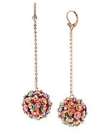 Betsey Johnson Mixed Flower Ball Linear Earrings