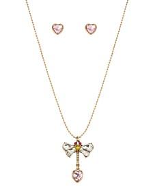 Betsey Johnson Stone Dragonfly Pendant & Heart Stud Earrings Set