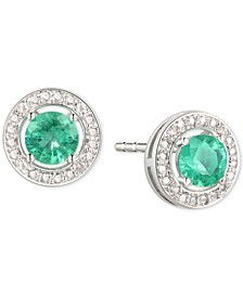 Emerald (1/2 ct. t.w.) & Diamond Accent Stud Earrings in Sterling Silver