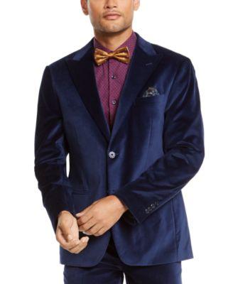 Men's Slim-Fit Velvet Suit Jacket Separate