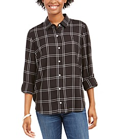Windowpane Plaid Roll-Tab Shirt