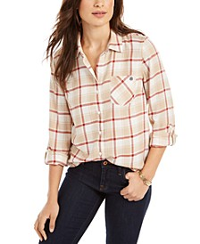 Roll-Tab Plaid Shirt, Created For Macy's