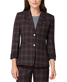 Roll-Cuff Plaid Blazer