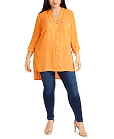 Plus Size Y-Neck High-Low Blouse