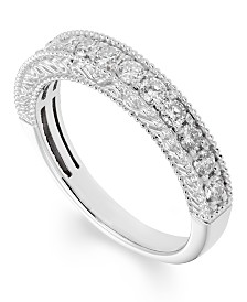 Diamond (1/2 ct. t.w.) Engraved Band in 14k White Gold