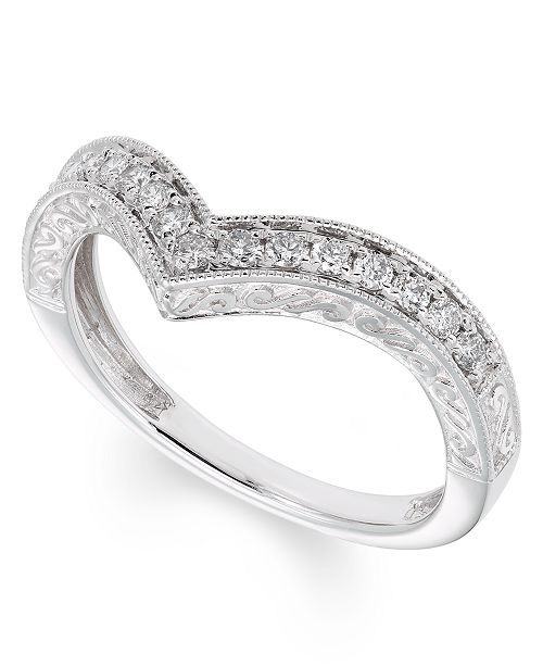 Macy's Certified Diamond (1/4 ct. t.w.) Band in 14K White Gold