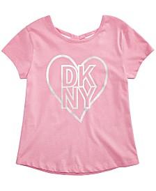 DKNY Big Girls Metallic Love Crisscross T-Shirt