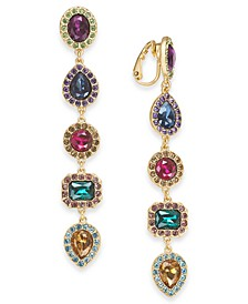 INC Gold-Tone Pavé & Stone Clip-On Linear Drop Earrings, Created For Macy's