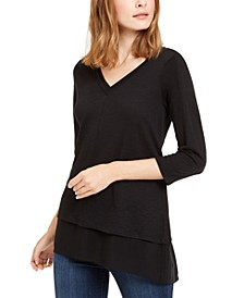 Mixed-Media V-Neck Tunic