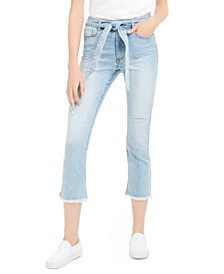 Juniors' Tie Belt Frayed Cropped Jeans