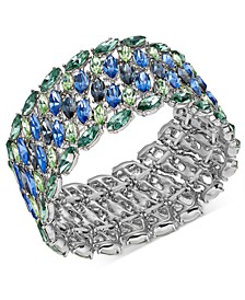 INC Silver-Tone Crystal Cluster Stretch Bracelet, Created For Macy's