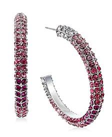 "INC Silver-Tone Medium Multicolor Pavé Open Hoop Earrings, 1.25"", Created For Macy's"