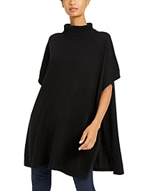 Cashmere Turtleneck Poncho Sweater
