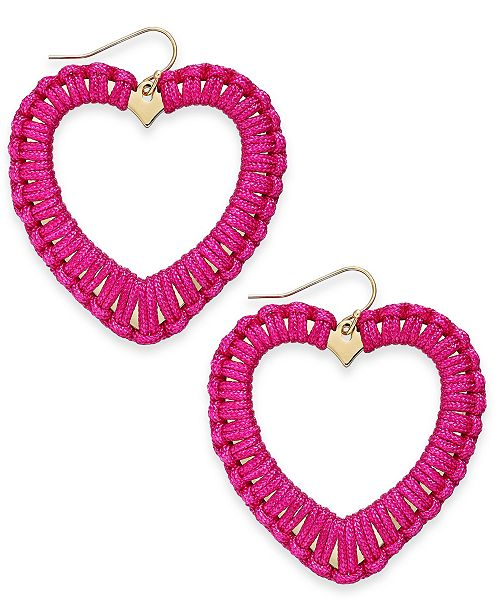 INC International Concepts INC Gold-Tone Woven Heart Drop Earrings, Created For Macy's