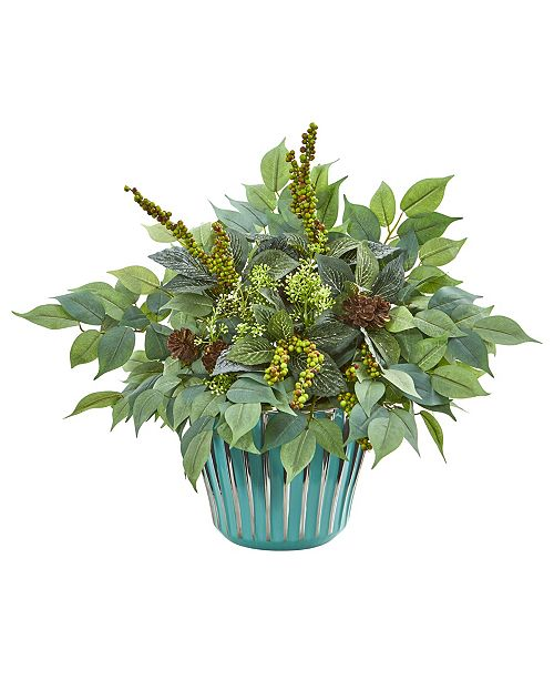 "Nearly Natural 15"" Mixed Fittonia and Ficus Artificial Plant in Turquoise Vase"