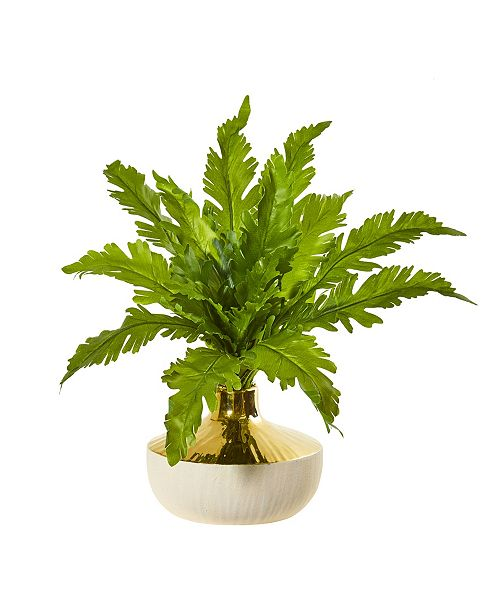 """Nearly Natural 16"""" Fern Artificial Plant in Designer Vase"""