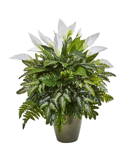 "Nearly Natural 31"" Mixed Spathiphyllum Artificial Plant in Green Planter"