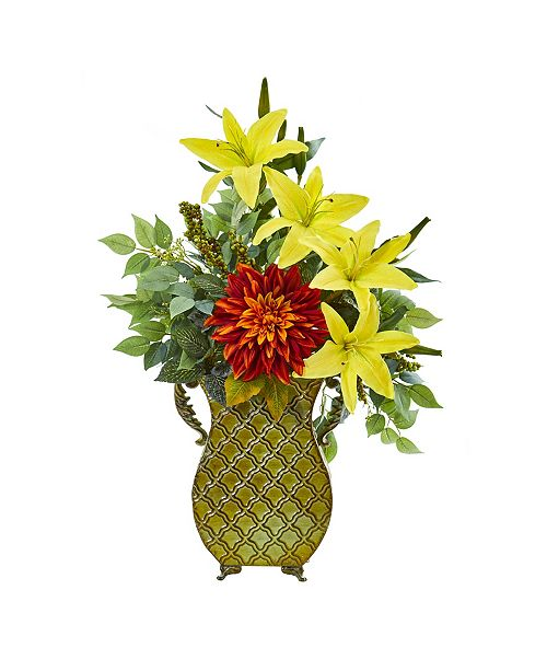 "Nearly Natural 25"" Dahlia, Lily and Ficus Artificial Plant in Metal Planter"