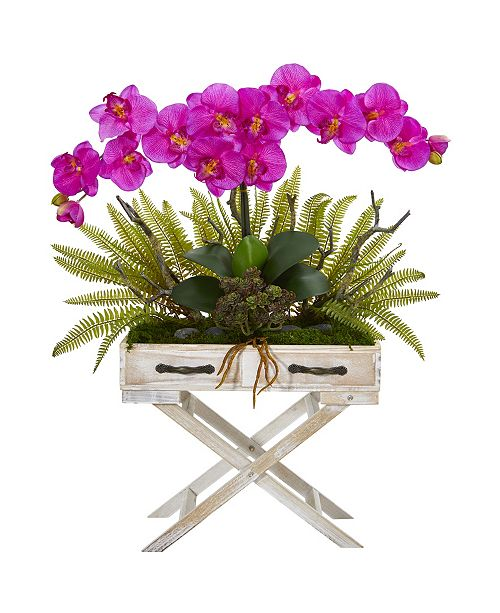 """Nearly Natural 26"""" Phalaenopsis Orchid, Fern and Succulent Artificial Arrangement in Drawer Planter"""