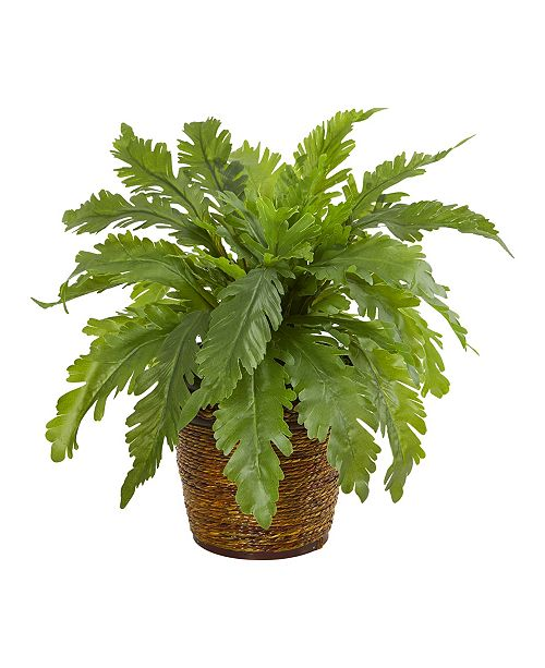 """Nearly Natural 12"""" Fern Artificial Plant in Basket"""